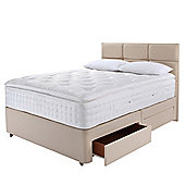 Relyon Super King Divan Bed Set,  Natural Cashmere With Padded Top, 4 Drawer
