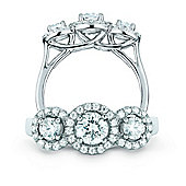 REAL Effect Rhodium Plated Sterling Silver White Cubic Zirconia Three-Stone Cluster Dress Ring