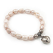 Pale Pink Freshwater Pearl Silver Metal 'Heart' Flex Bracelet (Up To 19cm Length)