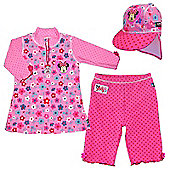 Disney Minnie Mouse UV Shirt Shorts and Sun Hat Set 2 to 4 Years
