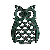 Verdigris Finish Cast Iron Owl Wall Art Ornament