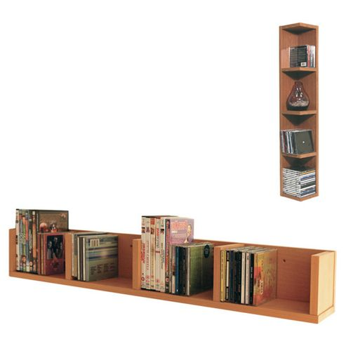 Techstyle CD / DVD / VIDEO Multimedia Wall Storage Shelf - Beech