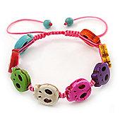 Unisex Multicoloured Plastic 'Skull' Friednship Bracelet On Silk String - Adjustable