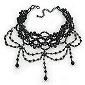 Jet Black Gothic Costume Choker Necklace (Black Tone Metal)