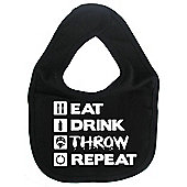 Dirty Fingers Eat Drink Throw Repeat Baby Bib Black