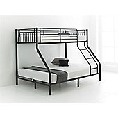 Happy Beds Cherry 3ft 4ft6 Kids Black Metal Bunk Bed Triple Sleeper 2x Orthopaedic Mattress