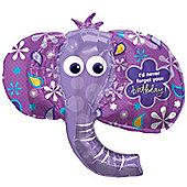 """Birthday Elephant Balloon - 42"""" Foil"""