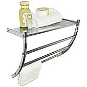Solo - Wall Mounted Metal Shelf / Towel Rail - Silver
