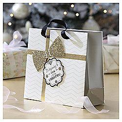 Glitter Bow Christmas Gift Bag, Medium