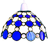 Loxton Lighting Tiffany Bistro 1 Light Dome Large Circles Shade - Beige / Blue