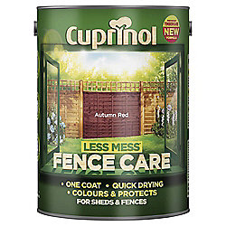 Cuprinol Less Mess Shed & Fence Care, Autumn Red, 5L
