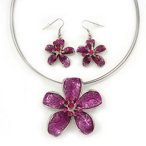 Fuchsia Enamel Diamante 'Flower' Wire Necklace & Drop Earrings Set In Silver Plating - 38cm Length/ 5cm Extension