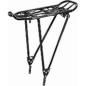 Acor Alloy Rear Pannier Rack With 1 Piece Frame. Black, With Spring Clamp & Reflector Bracket