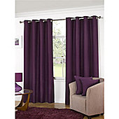 KLiving Manhattan Plain Panama Unlined Eyelet Curtain 65 x 54 Aubergine