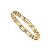 Jewelco London 9ct Flat diamond cut solid gold 6mm medium weight slave bangle