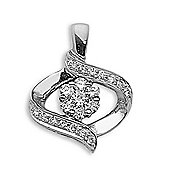 Jewelco London 18 Carat White Gold 44pts Diamond Pendant