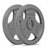 Bodymax Olympic Cast Iron Tri-Grip Weight Disc Plates - 2 x 10kg