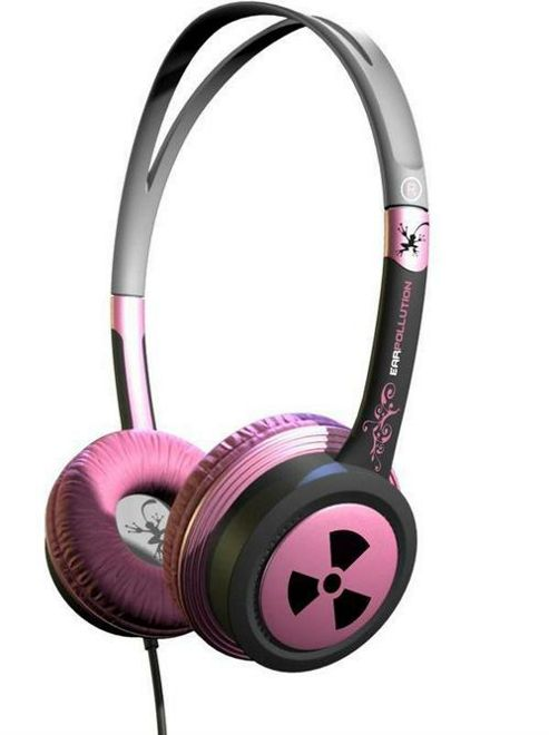 iFrogz EarPollution Toxix Headphones Pink & Black NEW