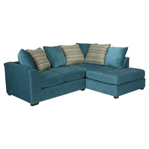Toronto Fabric Corner Sofa Teal right hand facing