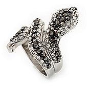 Dazzling Swarovski Crystals Snake Ring In Rhodium Plated Metal