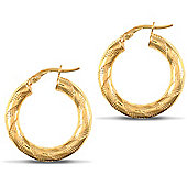 Jewelco London 9ct Yellow Gold 4mm hoop Earrings with textured stripe design