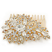 Bridal/ Wedding/ Prom/ Party Gold Plated Clear Swarovski Sculptured Leaf Crystal Hair Comb - 85mm
