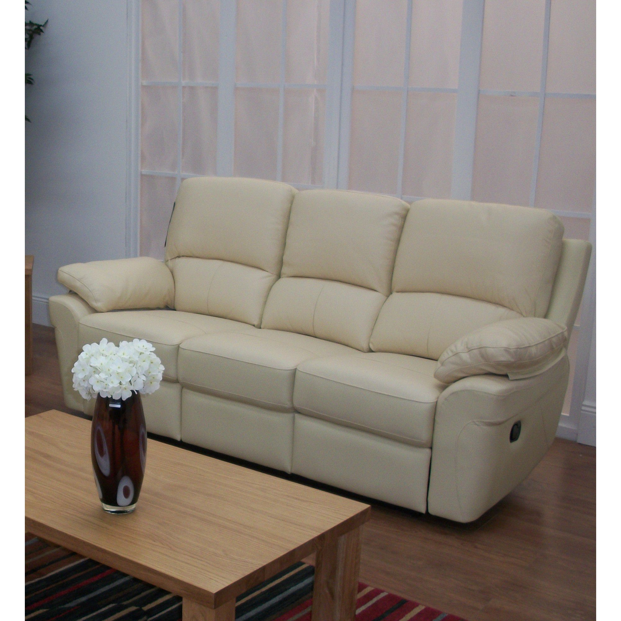 Furniture Link Monzano Three Fixed Seat Sofa in Ivory - Chestnut at Tesco Direct