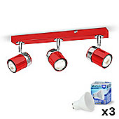 Rosie Three Way LED Ceiling Spotlight in Gloss  & Chrome with Warm  GU10 Bulbs