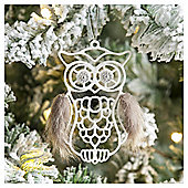 Weiste Glittered Owl Christmas Tree Decoration