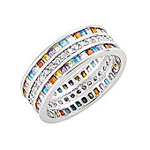 Jewelco London Rhodium-Plated Sterling Silver CZ Eternity Ring Size