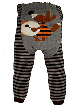 Dotty Fish Knitted Baby Leggings - Striped Mr Fox - Grey & Black