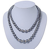 Two Row Grey Glass Pearl Bead Layered Necklace In Silver Plating - 46cm Length/ 6cm Extension