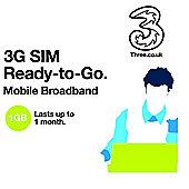 3 1GB Data Full Size SIM Card