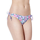 F&F Diamond Floral Print Side Tie Bikini Briefs - Blue & Pink
