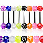 Urban Male Pack Of Eight G23 Titanium Straight Body Piercing Barbells & Acrylic Balls