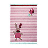 Esprit 3 Happy Friends Stripes Light Pink Tufted Rug - 140 cm x 200 cm (4 ft 7 in x 6 ft 6.5 in)
