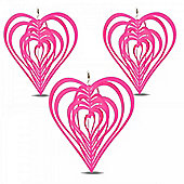 Set of Three Pink Heart Shaped Steel Garden Windspinners