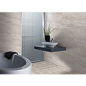 HD Travertine Grey Gloss Ceramic Floor Tile 331x331mm