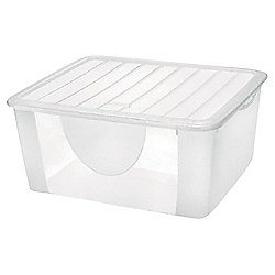 Plastic Storage Box with Lid - 16.7L - Clear
