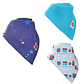 Zippy Trains/Stars/Blue Absorbent Bandana Dribble Bibs, 3 pack, one size