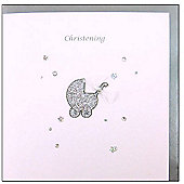 Silver Glitter Pram Christening Card