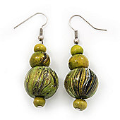 Lime Green Wood Bead Drop Earrings In Silver Finish - 5cm Length