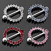 Urban Male 1.6mm Stainless Steel Nipple Shield With Coloured CZ Stones in pink