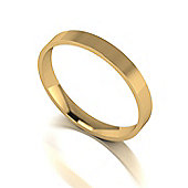 9ct Gold 3mm D Flat Court Wedding Band
