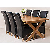 Vermont Solid Oak Crossed Leg 200 cm Extending Dining Table with 6 Montana Leather Dining Chairs (Black)