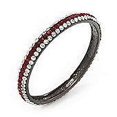 Ruby Red/Clear Crystal Bangle Bracelet In Gun Metal Finish - up to 19cm length
