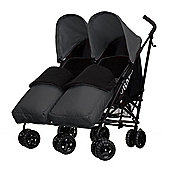 Obaby Apollo Black & Grey Twin Stroller with 2 Grey Footmuffs - Grey