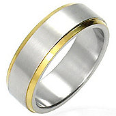 Urban Male Two Colour Men's Stainless Steel Brushed Ring 7mm