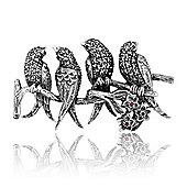 Gemondo 925 Sterling Silver Hand Set Marcasite Birds Brooch
