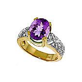 QP Jewellers Diamond & Amethyst Renaissance Ring in 14K Gold